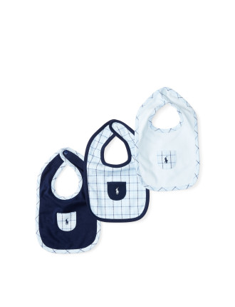 Plaid Cotton Interlock Bib Set