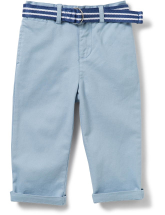 Belted Stretch Cotton Chino (0-24 Months)