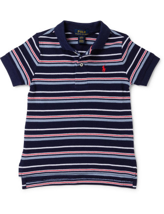 Striped Cotton Mesh Polo Shirt (2-7 Years)