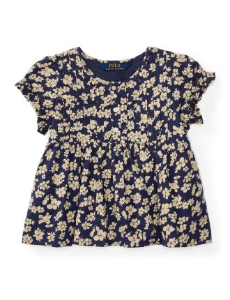Floral Pintucked Cotton Top (2-7 Years)