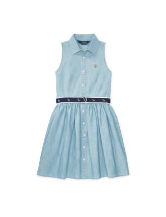 Cotton Chambray Shirtdress (8-14 Years)