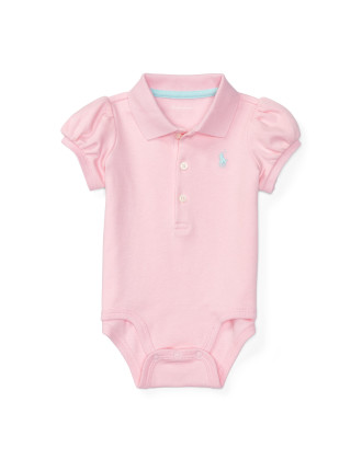 Puff-Sleeve Polo Bodysuit (0-24 Months)