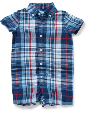 Plaid Linen-Cotton Shortall (0-12 Months)