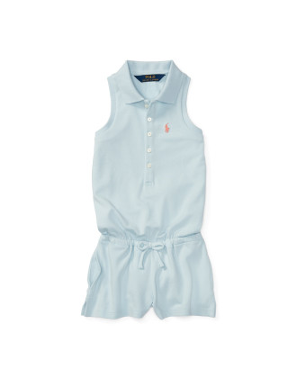 Stretch Cotton Polo Romper (2-7 Years)