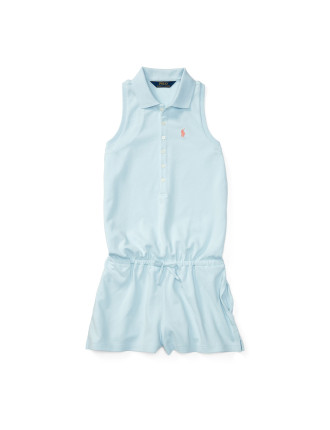Stretch Cotton Polo Romper (8-14 Years)