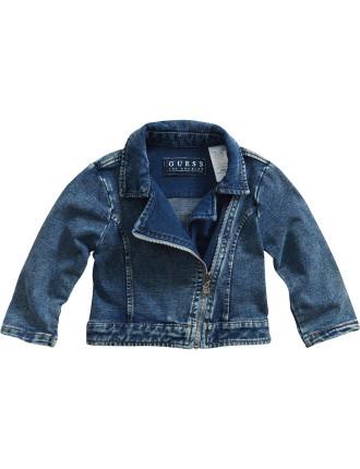Knit Denim Moto Jacket