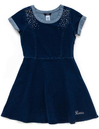 Knit Denim Dress With Studs