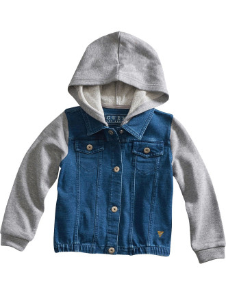 Knit Denim Jacket With Hood