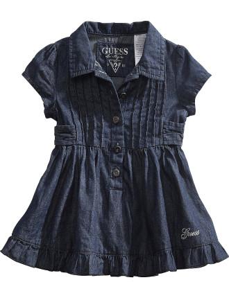 Denim Dress W/Ruffles