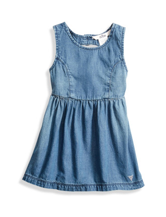 Denim Dress W/Heart Back & Pan