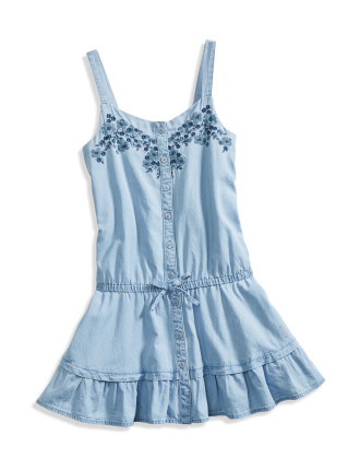 Chambray Dress W/Embroidery