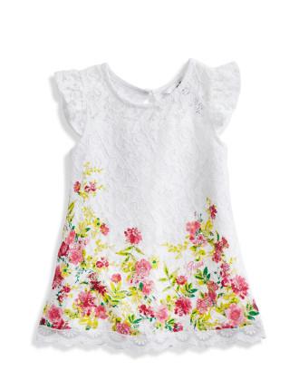 Lace Tank Dress W/Floral Borde