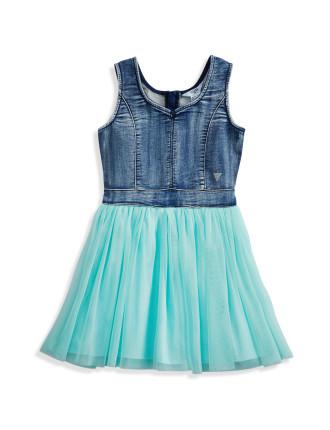Knit Denim/Tulle Dress