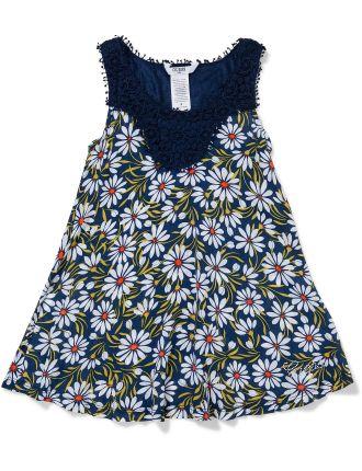 Daisy Print Dress W/Lace