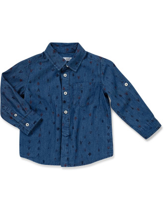 Conversation' Print Chambray Shirt