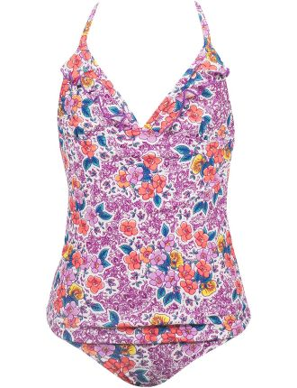 Picturesque Halter Neck Ruffle Tankini