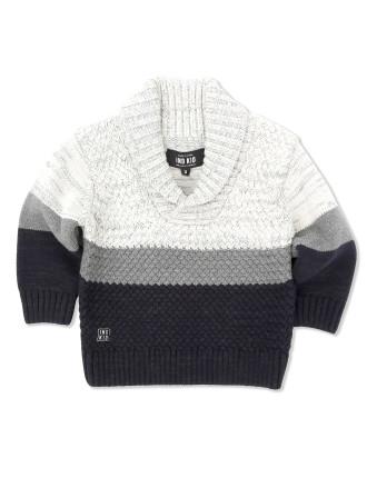 Colour Block Shawl Knit (Boys 0-2 Years)