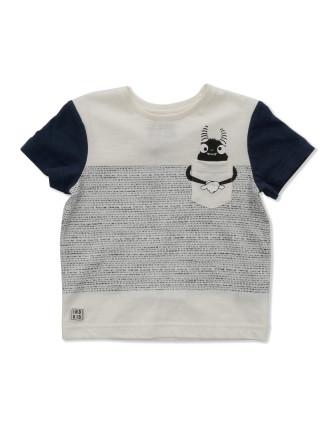Jacquard Stripe Tee (Monster Print) (Boys 0-2 Yrs)
