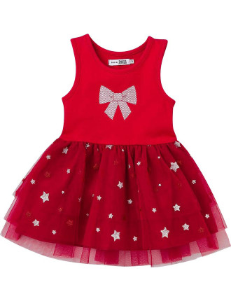 Xmas Glitter Print Tutu Dress With Sequin Print Bow