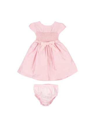Special Occasion Short Sleeve Smocked Dress With Ribbon