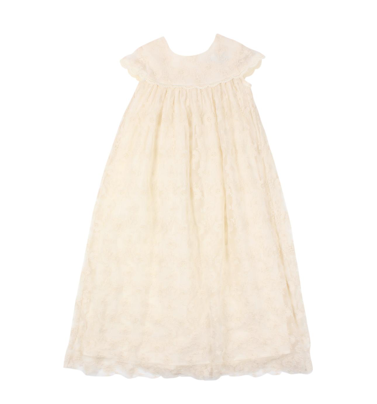 White dress david jones - Short Sleeve Lace Long Christening Gown
