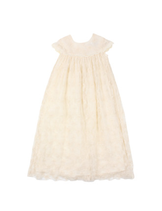 Short Sleeve Lace Long Christening Gown