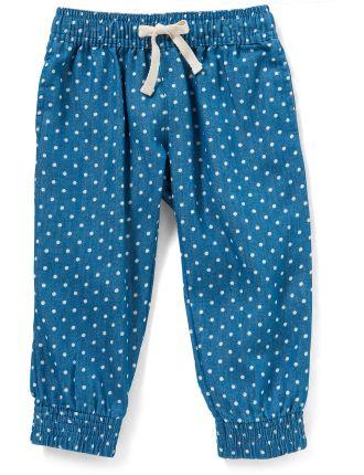 Girls Woven Spot Print Chambray Pant