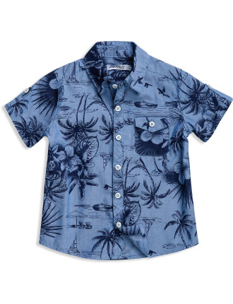 Boys Short Sleeve Shirt Printed Chambray