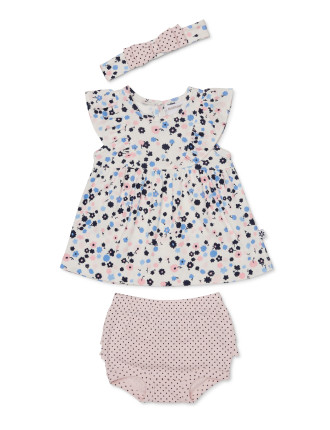3pc Floral/Spot Dress, Bloomer And Headband