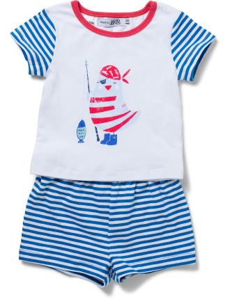 Baby Boys Sleep Set - Nautical Striped Sleeves