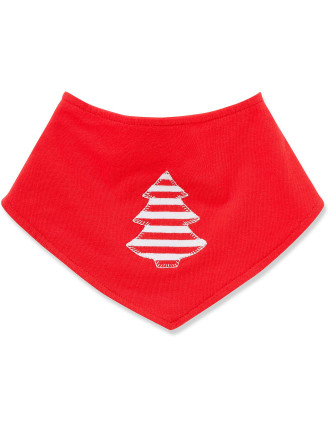 Xmas Handkerchief Bib Red Tree