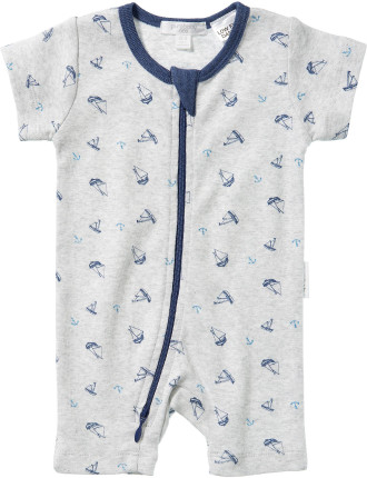 Boys Short Sleeve Zip Growsuit