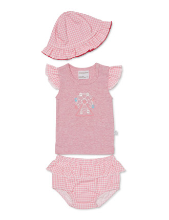 3piece Set - Frill Sleeve Top, Bloomer And Sunhat