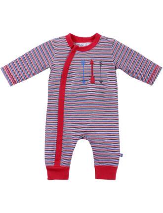 Wyatt Stripe Long Sleeve Zip Romper