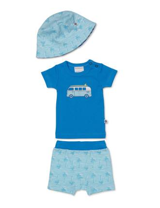 3piece Set - Tshirt, Shorts And Sun Hat