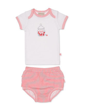 T-Shirt And Frilled Bloomer Set