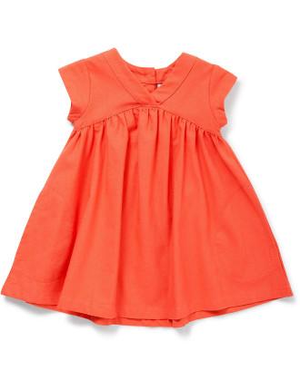 Short Sleeve Linen Dress With Pockets