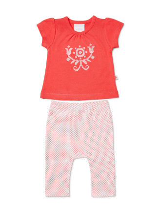 Girls Short Sleeve Top + Leggings Set (NB - 1Y)