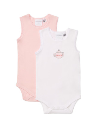 Girls 2pk Bodysinglet (NB - 1Y)