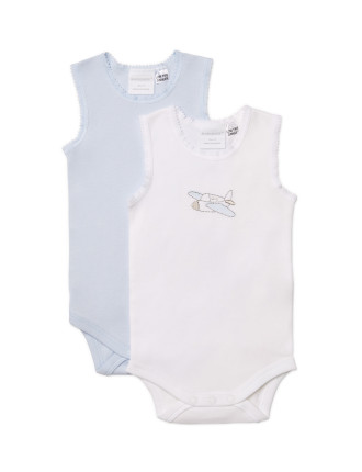 Boys 2pk Bodysinglet (NB - 1Y)