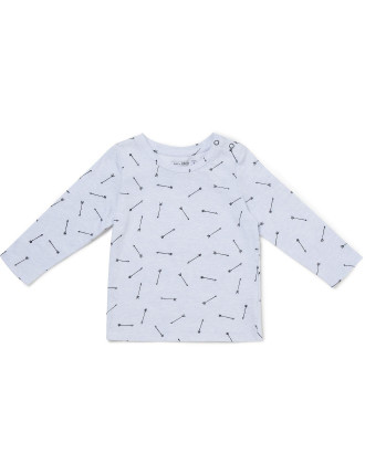 Long Sleeve Cotton Placment Print Tee