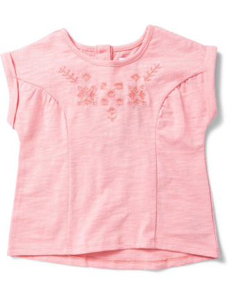 Emb Tee With Emb Flowers