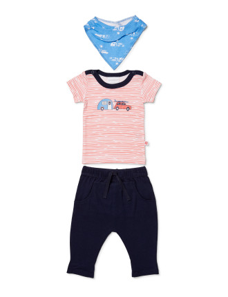 Boys Top, Pant + Bib Set (NEWBORN - 1Y)