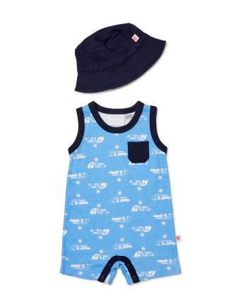 Boys Romper + Sun Hat (NEWBORN - 1Y)