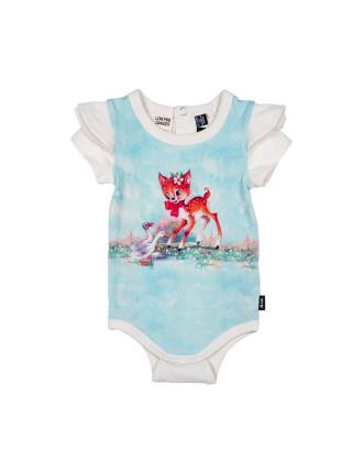 Girls Doe A Deer Short Sleeve Bodysuit (3M-2Y)