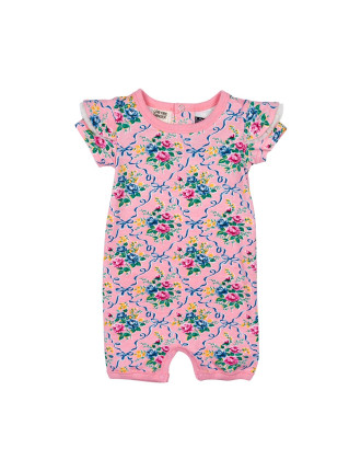 Girls Ribbons + Bow Short Sleeve Playsuit (3M-2Y)