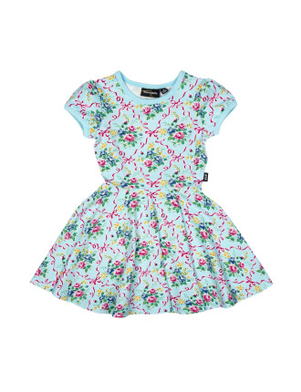 Girls Ribbons + Bow Short Sleeve Waisted Dress (3M-2Y)