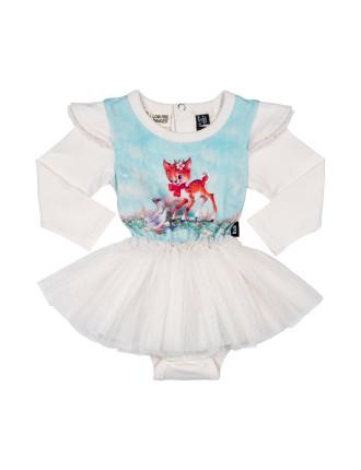 Girls Doe A Deer Long Sleeve Circus Dress (3M - 2Y)
