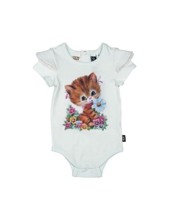Girls Kitty Cat Ss Romper (3 - 24M)