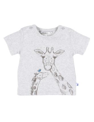 Boys S/S Giraffe Button Tee (3-24M)
